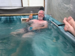 We didn't have champagne on hand so we shared a glass of wine to toast the tub