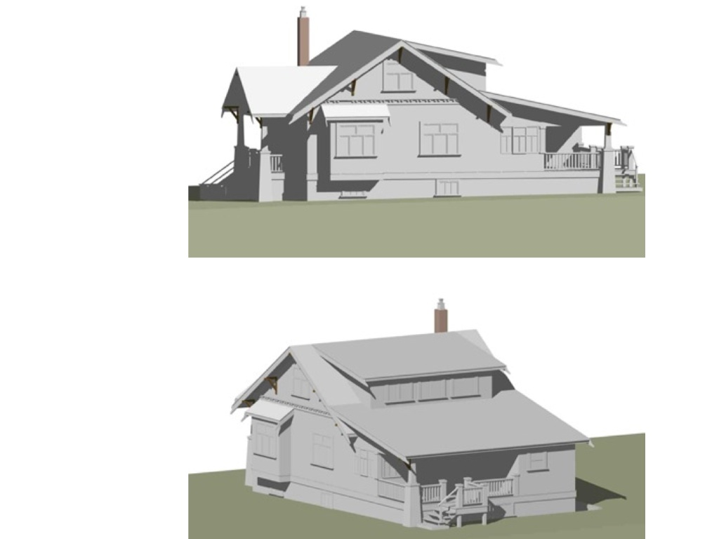 Through the miracle of Annabel's technology, these are two models of what the house will look like