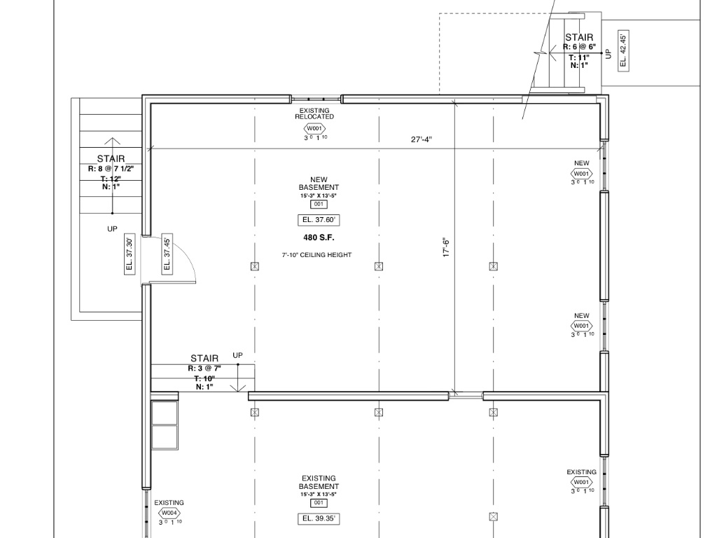 The planned new basement room. Adding 10' to the unused portion of the existing basement nets us quite a large new basement space