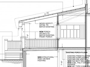 A section of the planned addition. You can see the outline of the existing addition.