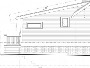 The planned addition roof goes higher up the main roof. There is a window for the closet and one over the bath.