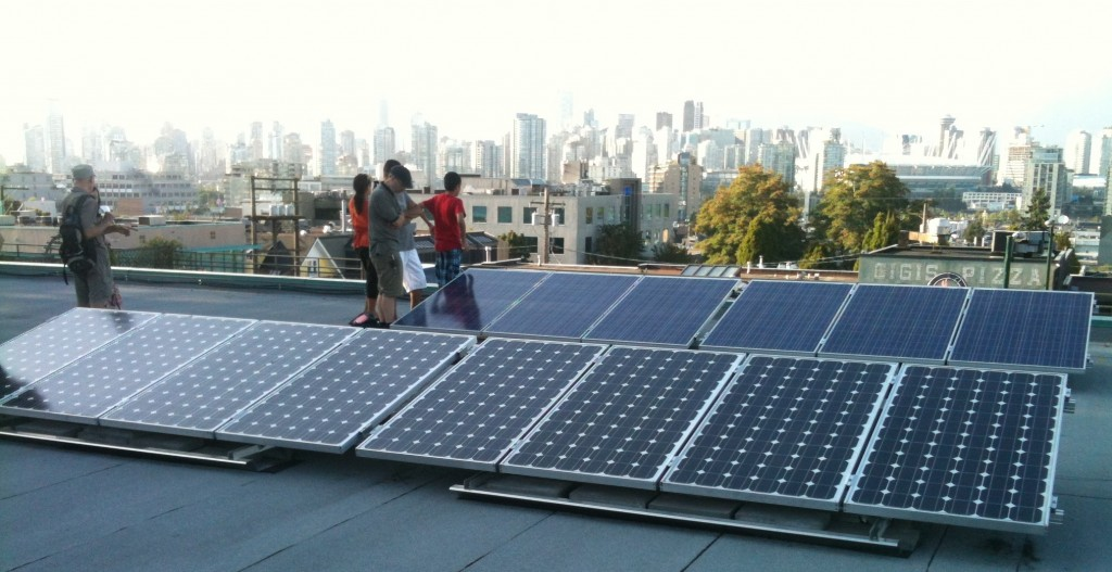 Panels on top of MEC--this was the first grid-tied installation in Vancouver