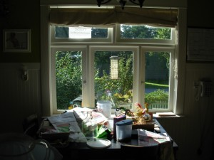 The kitchen window faces south and warms the room.