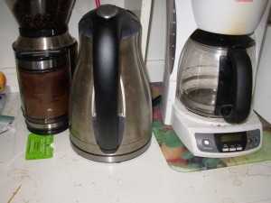 Coffee grinder, kettle, coffee maker--simple