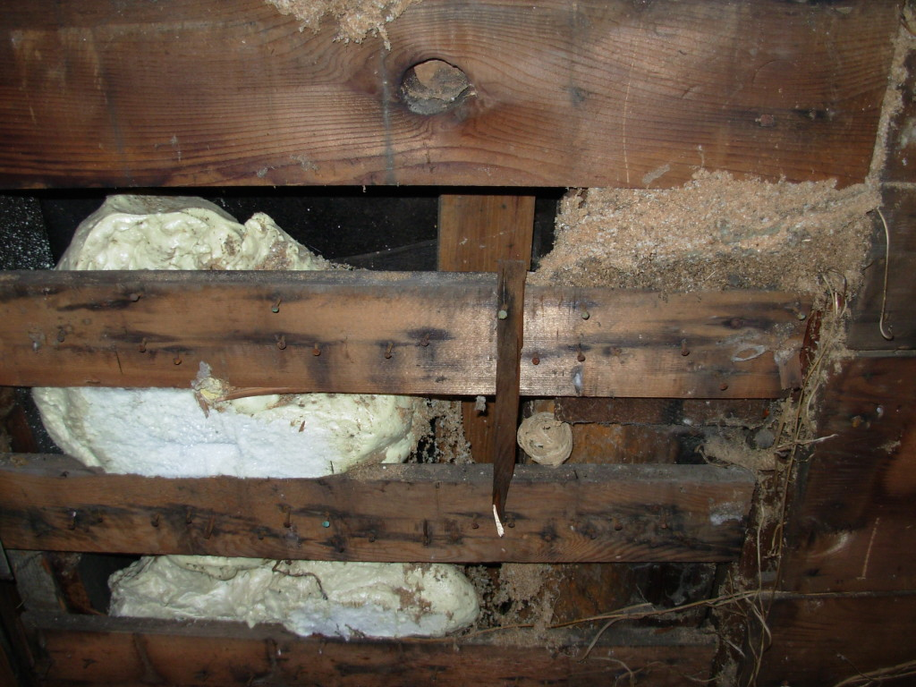 Half-pound, open-cell insulation that was supposed to fill that wall.