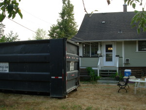 What did the eco-warrior do when the huge garbage bin arrived?