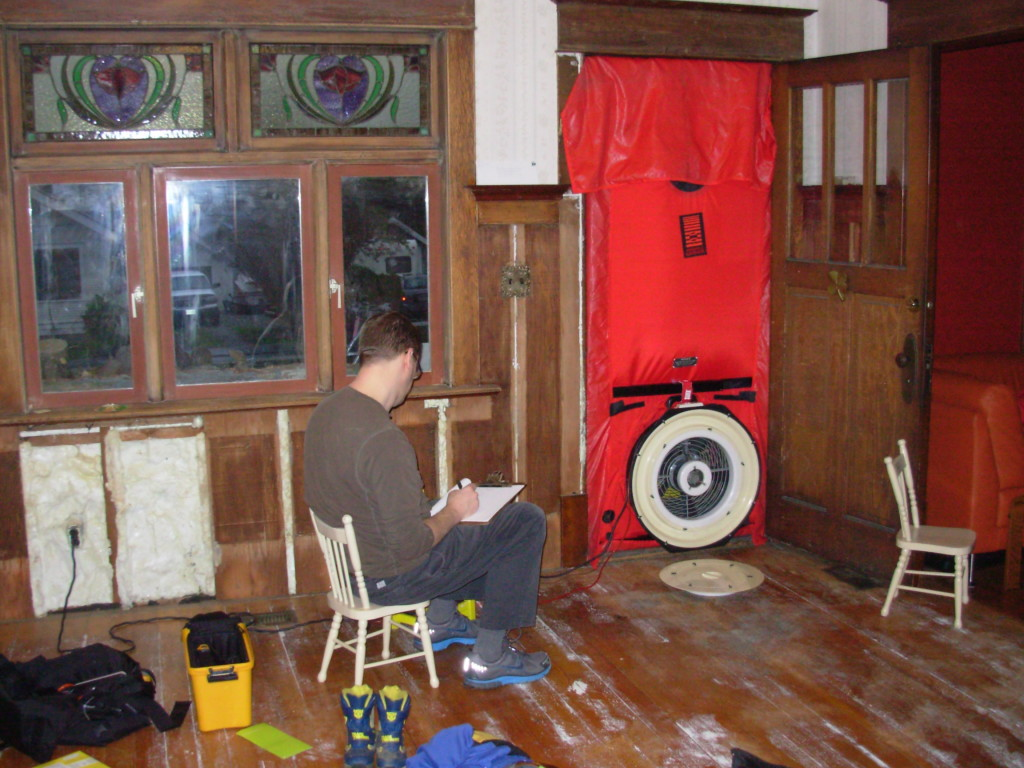 Monte doing the blower door test, Feb. 5, 2013
