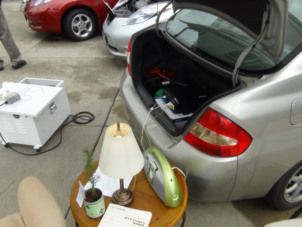 We plugged a radio and a light into the car for a few hours