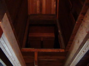 Looking up from the basement you can see the cupboard.